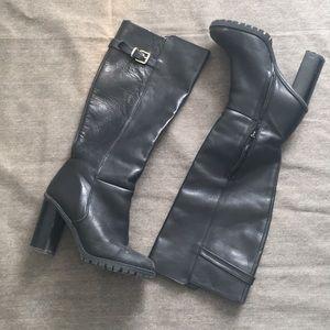 ZARA Black leather boots - Sz8/EU38 (Fits 7/7.5)
